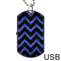 Chevron9 Black Marble & Blue Brushed Metal Dog Tag Usb Flash (two Sides) by trendistuff
