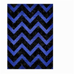 Chevron9 Black Marble & Blue Brushed Metal Large Garden Flag (two Sides) by trendistuff