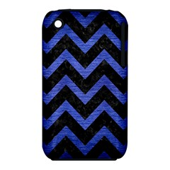 Chevron9 Black Marble & Blue Brushed Metal Apple Iphone 3g/3gs Hardshell Case (pc+silicone) by trendistuff