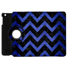 Chevron9 Black Marble & Blue Brushed Metal Apple Ipad Mini Flip 360 Case by trendistuff