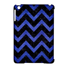 Chevron9 Black Marble & Blue Brushed Metal Apple Ipad Mini Hardshell Case (compatible With Smart Cover) by trendistuff