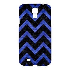 Chevron9 Black Marble & Blue Brushed Metal Samsung Galaxy S4 I9500/i9505 Hardshell Case by trendistuff