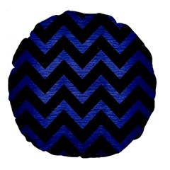 Chevron9 Black Marble & Blue Brushed Metal Large 18  Premium Flano Round Cushion  by trendistuff