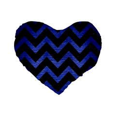 Chevron9 Black Marble & Blue Brushed Metal Standard 16  Premium Flano Heart Shape Cushion  by trendistuff