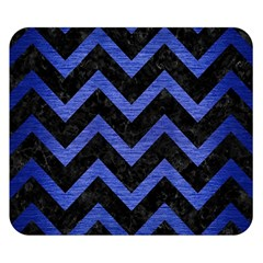 Chevron9 Black Marble & Blue Brushed Metal Double Sided Flano Blanket (small) by trendistuff