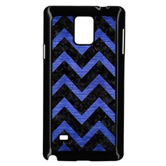 Chevron9 Black Marble & Blue Brushed Metal Samsung Galaxy Note 4 Case (black) by trendistuff