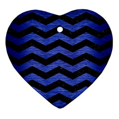 Chevron3 Black Marble & Blue Brushed Metal Ornament (heart) by trendistuff