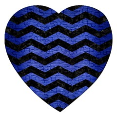 Chevron3 Black Marble & Blue Brushed Metal Jigsaw Puzzle (heart) by trendistuff