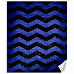 Chevron3 Black Marble & Blue Brushed Metal Canvas 20  X 24  by trendistuff