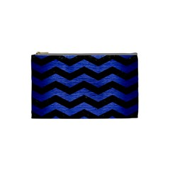 Chevron3 Black Marble & Blue Brushed Metal Cosmetic Bag (small) by trendistuff