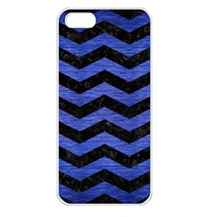 Chevron3 Black Marble & Blue Brushed Metal Apple Iphone 5 Seamless Case (white) by trendistuff