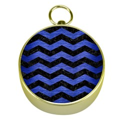 Chevron3 Black Marble & Blue Brushed Metal Gold Compass by trendistuff
