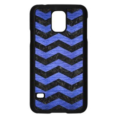 Chevron3 Black Marble & Blue Brushed Metal Samsung Galaxy S5 Case (black) by trendistuff