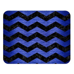 Chevron3 Black Marble & Blue Brushed Metal Double Sided Flano Blanket (large) by trendistuff