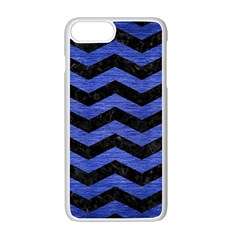 Chevron3 Black Marble & Blue Brushed Metal Apple Iphone 7 Plus White Seamless Case by trendistuff