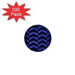 Chevron2 Black Marble & Blue Brushed Metal 1  Mini Button (100 Pack)  by trendistuff