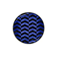 Chevron2 Black Marble & Blue Brushed Metal Hat Clip Ball Marker (4 Pack) by trendistuff