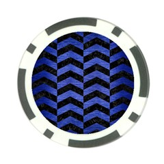 Chevron2 Black Marble & Blue Brushed Metal Poker Chip Card Guard by trendistuff