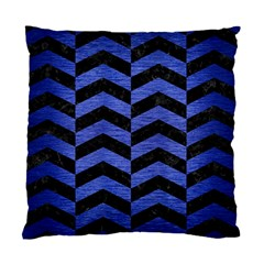 Chevron2 Black Marble & Blue Brushed Metal Standard Cushion Case (one Side) by trendistuff