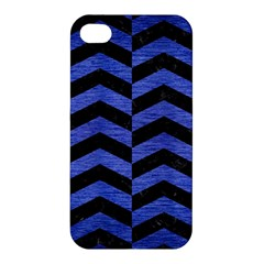 Chevron2 Black Marble & Blue Brushed Metal Apple Iphone 4/4s Hardshell Case by trendistuff