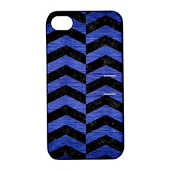 Chevron2 Black Marble & Blue Brushed Metal Apple Iphone 4/4s Hardshell Case With Stand by trendistuff