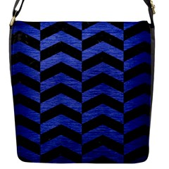 Chevron2 Black Marble & Blue Brushed Metal Flap Closure Messenger Bag (s) by trendistuff