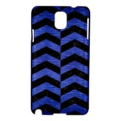 Chevron2 Black Marble & Blue Brushed Metal Samsung Galaxy Note 3 N9005 Hardshell Case by trendistuff