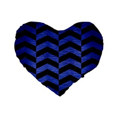 Chevron2 Black Marble & Blue Brushed Metal Standard 16  Premium Flano Heart Shape Cushion  by trendistuff