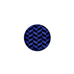 Chevron1 Black Marble & Blue Brushed Metal 1  Mini Button by trendistuff