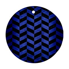 Chevron1 Black Marble & Blue Brushed Metal Ornament (round) by trendistuff