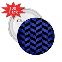Chevron1 Black Marble & Blue Brushed Metal 2 25  Button (100 Pack) by trendistuff