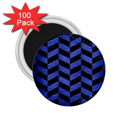 Chevron1 Black Marble & Blue Brushed Metal 2 25  Magnet (100 Pack)  by trendistuff