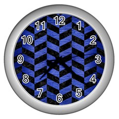 Chevron1 Black Marble & Blue Brushed Metal Wall Clock (silver) by trendistuff