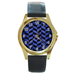 Chevron1 Black Marble & Blue Brushed Metal Round Gold Metal Watch by trendistuff
