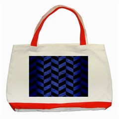 Chevron1 Black Marble & Blue Brushed Metal Classic Tote Bag (red) by trendistuff