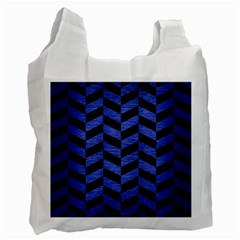 Chevron1 Black Marble & Blue Brushed Metal Recycle Bag (one Side) by trendistuff
