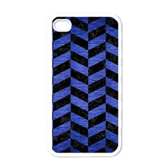 Chevron1 Black Marble & Blue Brushed Metal Apple Iphone 4 Case (white) by trendistuff