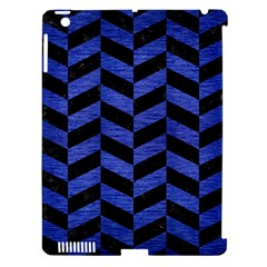 Chevron1 Black Marble & Blue Brushed Metal Apple Ipad 3/4 Hardshell Case (compatible With Smart Cover) by trendistuff