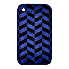 Chevron1 Black Marble & Blue Brushed Metal Apple Iphone 3g/3gs Hardshell Case (pc+silicone) by trendistuff