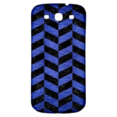 Chevron1 Black Marble & Blue Brushed Metal Samsung Galaxy S3 S Iii Classic Hardshell Back Case by trendistuff