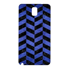 Chevron1 Black Marble & Blue Brushed Metal Samsung Galaxy Note 3 N9005 Hardshell Back Case by trendistuff