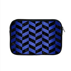 Chevron1 Black Marble & Blue Brushed Metal Apple Macbook Pro 15  Zipper Case by trendistuff