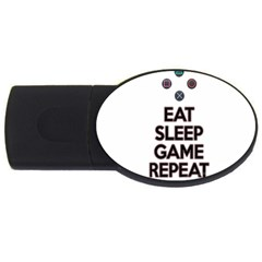 Eat Sleep Game Repeat Usb Flash Drive Oval (4 Gb) by Valentinaart