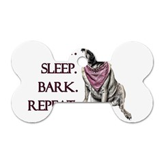 Eat, Sleep, Bark, Repeat Pug Dog Tag Bone (two Sides) by Valentinaart
