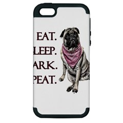 Eat, Sleep, Bark, Repeat Pug Apple Iphone 5 Hardshell Case (pc+silicone) by Valentinaart