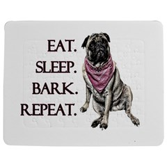 Eat, Sleep, Bark, Repeat Pug Jigsaw Puzzle Photo Stand (rectangular) by Valentinaart