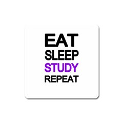 Eat Sleep Study Repeat Square Magnet by Valentinaart