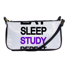 Eat Sleep Study Repeat Shoulder Clutch Bags by Valentinaart