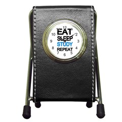 Eat Sleep Study Repeat Pen Holder Desk Clocks by Valentinaart