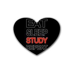 Eat Sleep Study Repeat Rubber Coaster (heart)  by Valentinaart